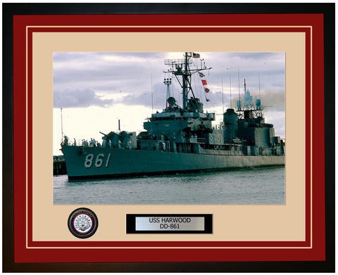 USS HARWOOD DD-861 Framed Navy Ship Photo Burgundy