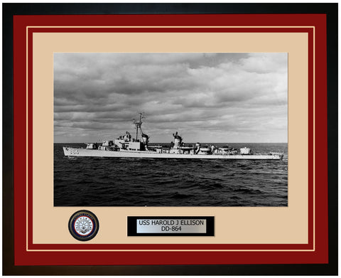 USS HAROLD J ELLISON DD-864 Framed Navy Ship Photo Burgundy