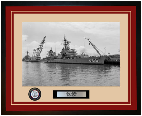 USS CONE DD-866 Framed Navy Ship Photo Burgundy