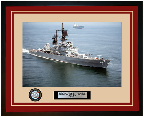 USS HARRY E YARNELL CG-17 Framed Navy Ship Photo Burgundy