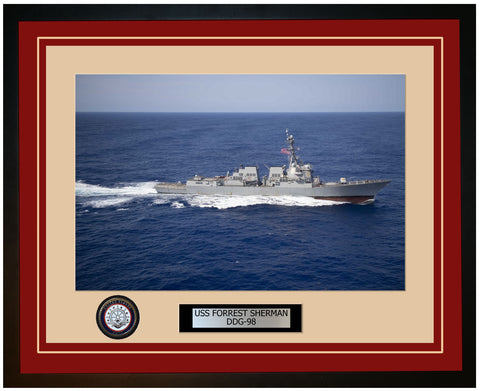 USS FORREST SHERMAN DDG-98 Framed Navy Ship Photo Burgundy
