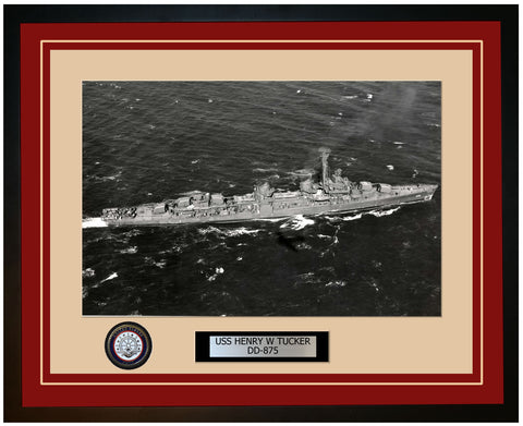 USS HENRY W TUCKER DD-875 Framed Navy Ship Photo Burgundy