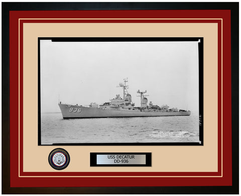 USS DECATUR DD-936 Framed Navy Ship Photo Burgundy