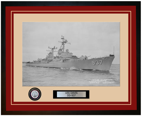 USS DAVIS DD-937 Framed Navy Ship Photo Burgundy