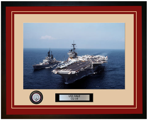 USS DALE CG-19 Framed Navy Ship Photo Burgundy