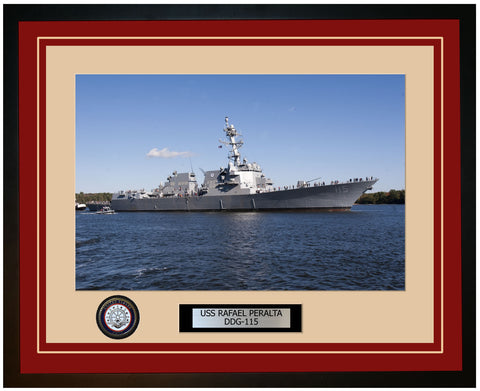 USS RAFAEL PERALTA DDG-115 Framed Navy Ship Photo Burgundy