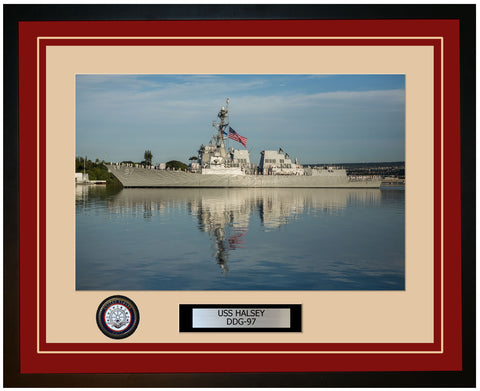 USS HALSEY DDG-97 Framed Navy Ship Photo Burgundy