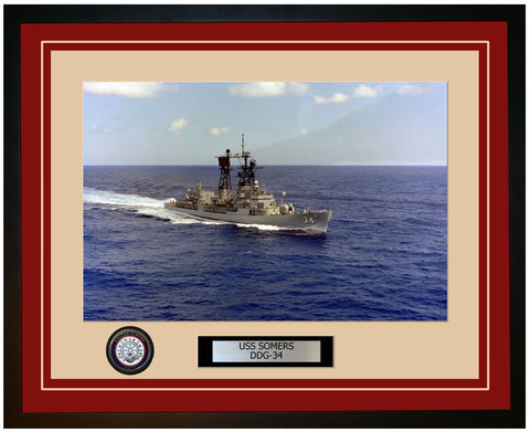 USS SOMERS DDG-34 Framed Navy Ship Photo Burgundy