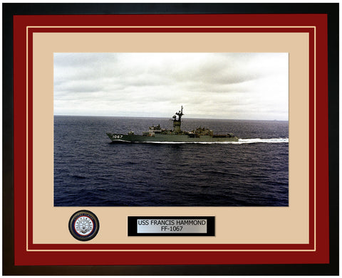 USS FRANCIS HAMMOND FF-1067 Framed Navy Ship Photo Burgundy