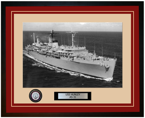 USS HUNLEY AS-31 Framed Navy Ship Photo Burgundy