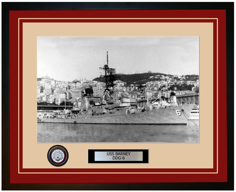 USS BARNEY DDG-6 Framed Navy Ship Photo Burgundy