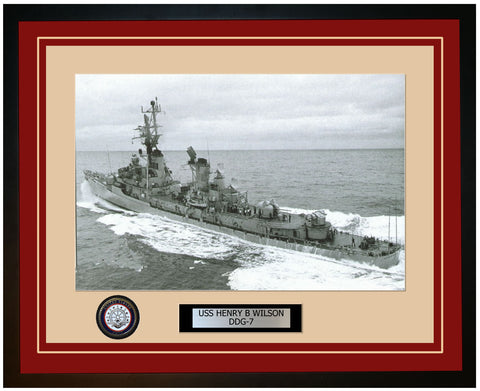 USS HENRY B WILSON DDG-7 Framed Navy Ship Photo Burgundy