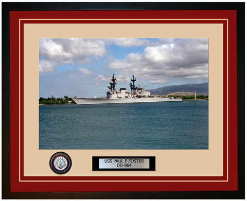 USS PAUL F FOSTER DD-964 Framed Navy Ship Photo Burgundy