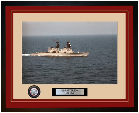 USS PETERSON DD-969 Framed Navy Ship Photo Burgundy