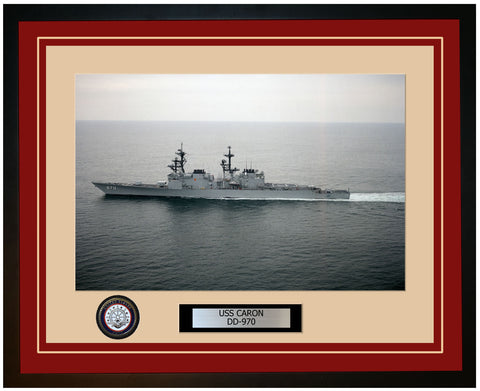 USS CARON DD-970 Framed Navy Ship Photo Burgundy