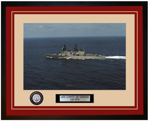 USS COMTE DE GRASSE DD-974 Framed Navy Ship Photo Burgundy