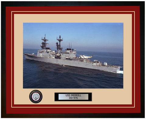 USS MERRILL DD-976 Framed Navy Ship Photo Burgundy