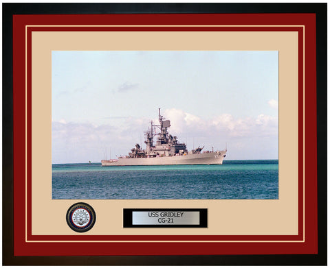 USS GRIDLEY CG-21 Framed Navy Ship Photo Burgundy