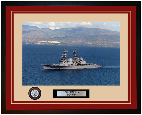 USS CONOLLY DD-979 Framed Navy Ship Photo Burgundy