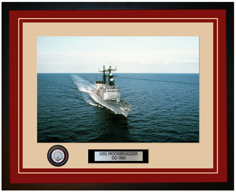 USS MOOSBRUGGER DD-980 Framed Navy Ship Photo Burgundy