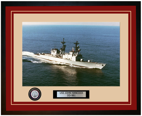 USS JOHN HANCOCK DD-981 Framed Navy Ship Photo Burgundy