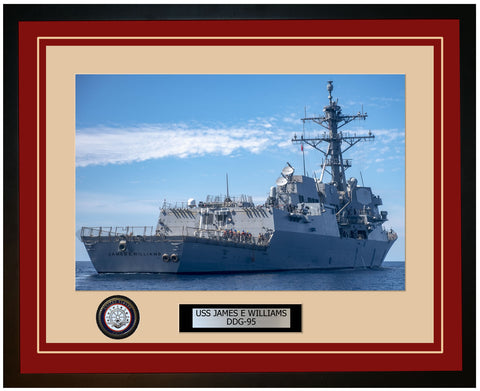 USS JAMES E WILLIAMS DDG-95 Framed Navy Ship Photo Burgundy