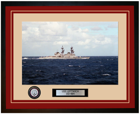 USS LEFTWICH DD-984 Framed Navy Ship Photo Burgundy