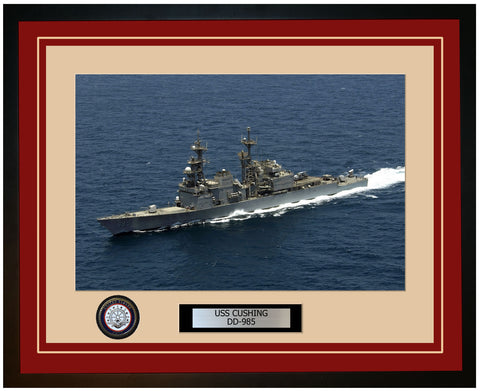 USS CUSHING DD-985 Framed Navy Ship Photo Burgundy