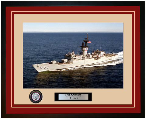 USS DOWNES FF-1070 Framed Navy Ship Photo Burgundy