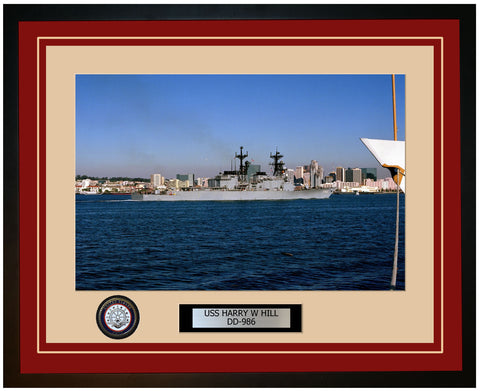 USS HARRY W HILL DD-986 Framed Navy Ship Photo Burgundy