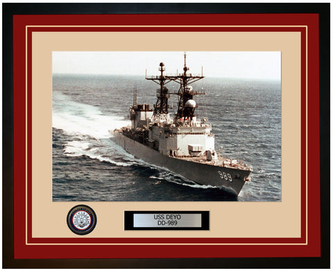 USS DEYO DD-989 Framed Navy Ship Photo Burgundy