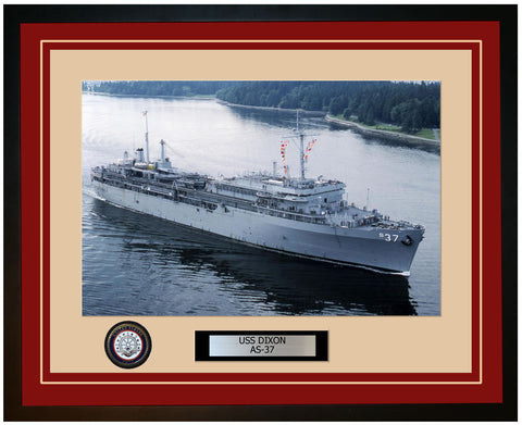 USS DIXON AS-37 Framed Navy Ship Photo Burgundy