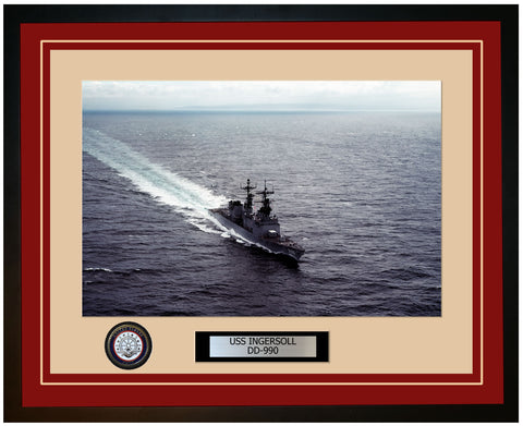 USS INGERSOLL DD-990 Framed Navy Ship Photo Burgundy