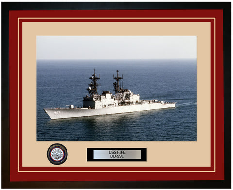 USS FIFE DD-991 Framed Navy Ship Photo Burgundy