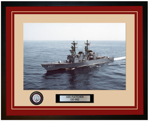 USS FLETCHER DD-992 Framed Navy Ship Photo Burgundy