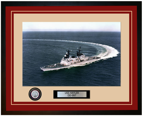 USS HAYLER DD-997 Framed Navy Ship Photo Burgundy