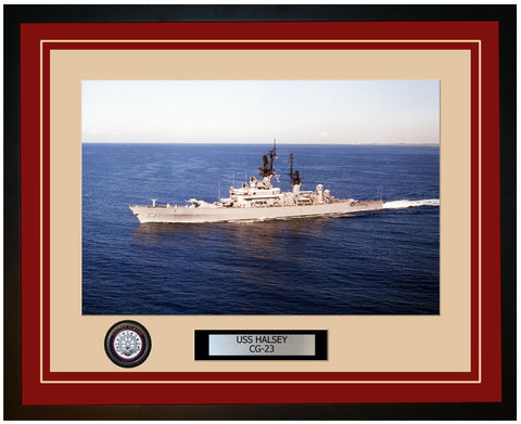 USS HALSEY CG-23 Framed Navy Ship Photo Burgundy