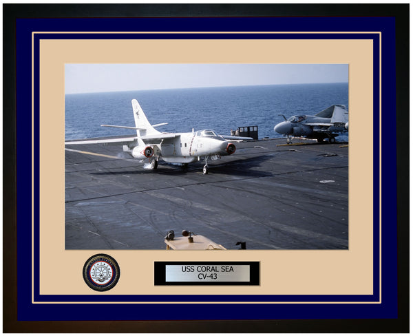 USS CORAL SEA CV-43 Framed Navy Ship Photo Blue