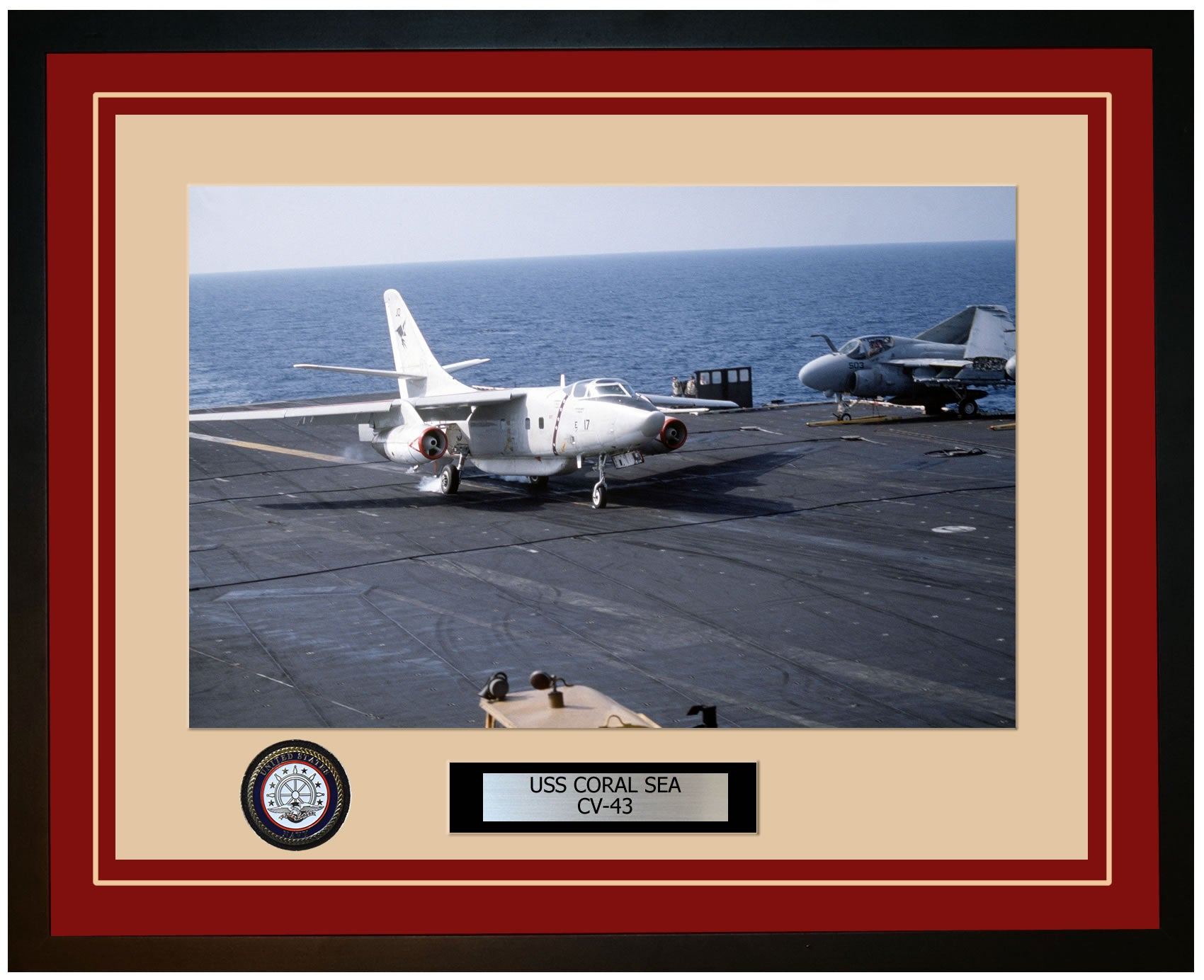 USS CORAL SEA CV-43 Framed Navy Ship Photo Burgundy