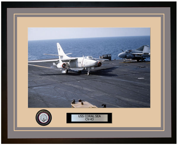 USS CORAL SEA CV-43 Framed Navy Ship Photo Grey