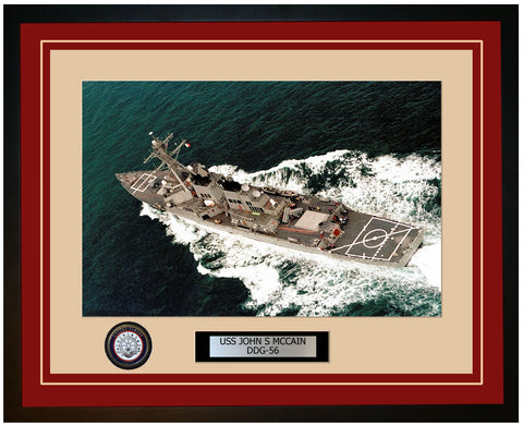 USS JOHN S MCCAIN DDG-56 Framed Navy Ship Photo Burgundy