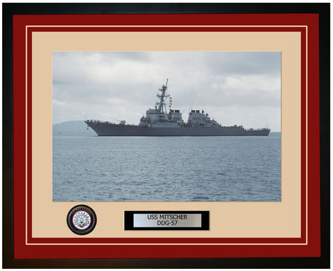 USS MITSCHER DDG-57 Framed Navy Ship Photo Burgundy