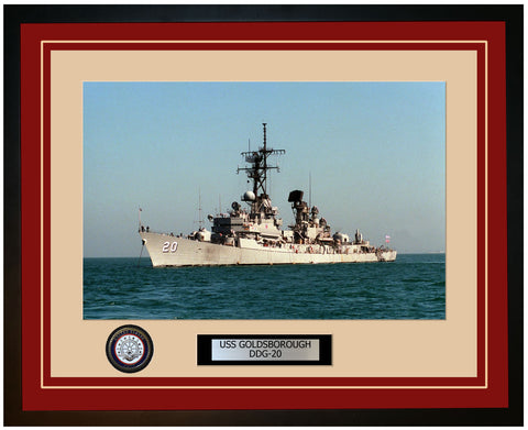 USS GOLDSBOROUGH DDG-20 Framed Navy Ship Photo Burgundy
