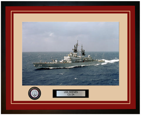 USS REEVES CG-24 Framed Navy Ship Photo Burgundy