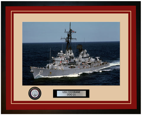 USS COCHRANE DDG-21 Framed Navy Ship Photo Burgundy