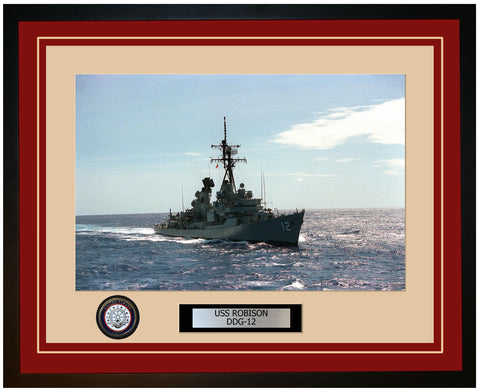 USS ROBISON DDG-12 Framed Navy Ship Photo Burgundy