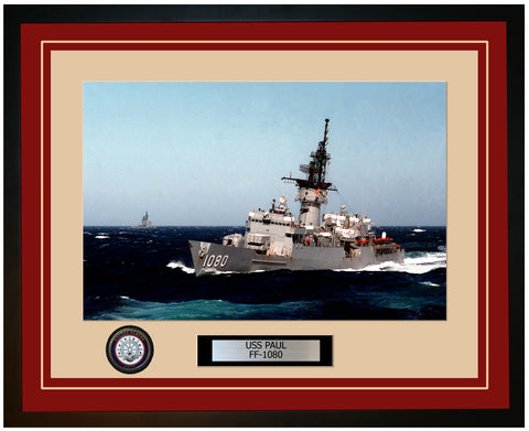 USS PAUL FF-1080 Framed Navy Ship Photo Burgundy