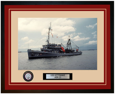 USS KITTIWAKE ASR-13 Framed Navy Ship Photo Burgundy