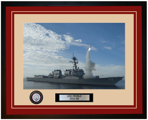 USS PREBLE DDG-88 Framed Navy Ship Photo Burgundy