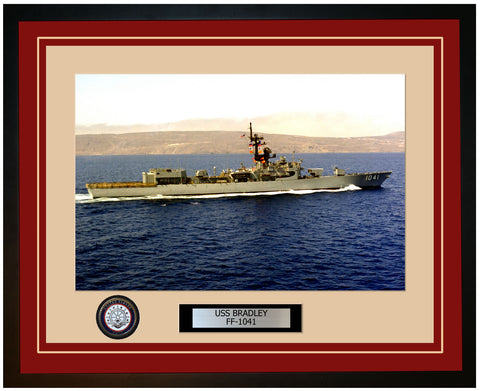 USS BRADLEY FF-1041 Framed Navy Ship Photo Burgundy